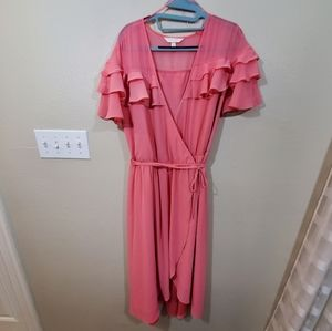 Lauren Conrad pink ruffled wrap dress